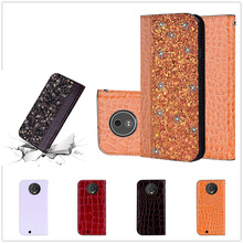 Fundas for Moto G6 Play Case Flip Wallet Coque Motorola E5 E4 C Plus Shell Crocodile Bling Fashion Design Capa