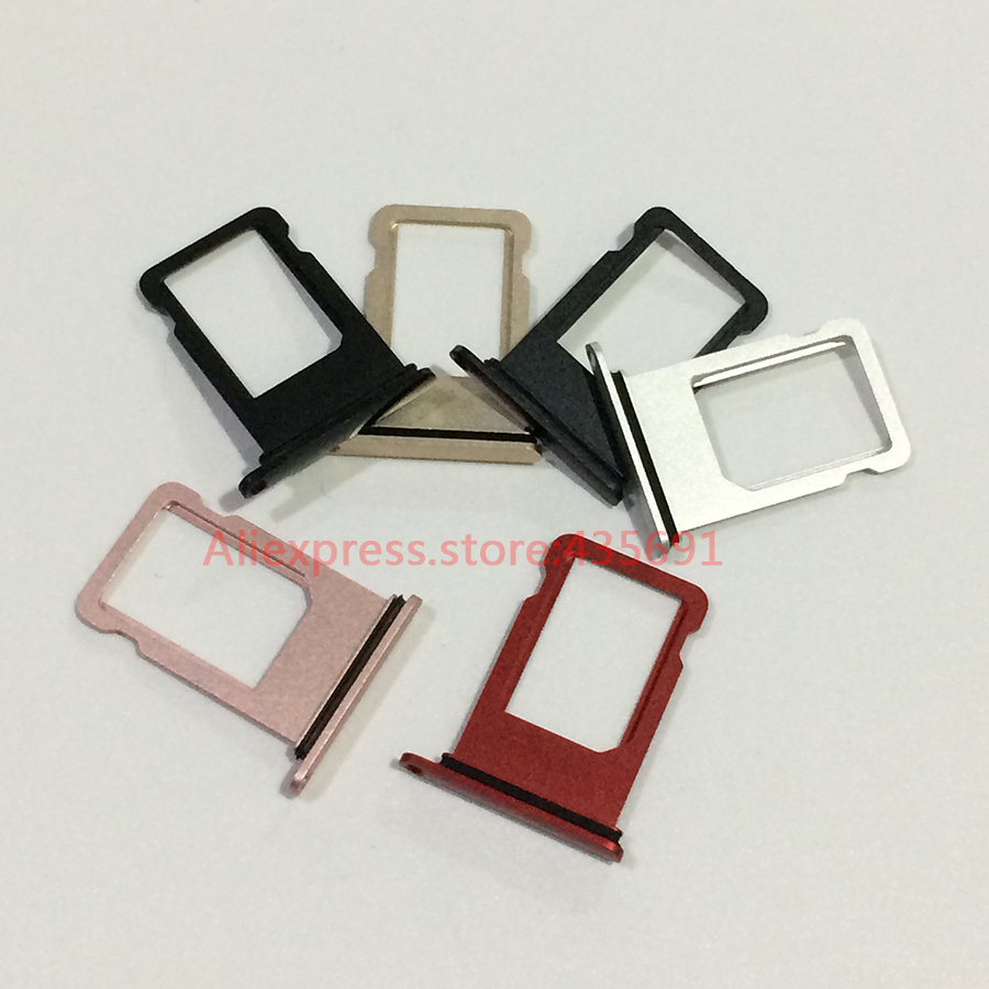 For IPhone 7 Plus Original Nano Sim Card With Rubber Waterproof Ring Tray Slot Holder Sim Card Adapter Socket Repair Parts 50Pcs