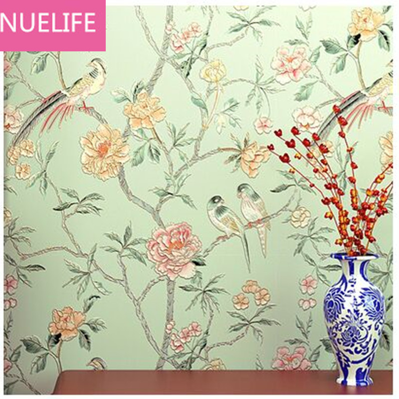 0.53x10m Modern retro Chinese flower bird wallpaper living room bedroom entrance TV background wall non - woven wallpaper N40.53x10m Modern retro Chinese flower bird wallpaper living room bedroom entrance TV background wall non - woven wallpaper N4