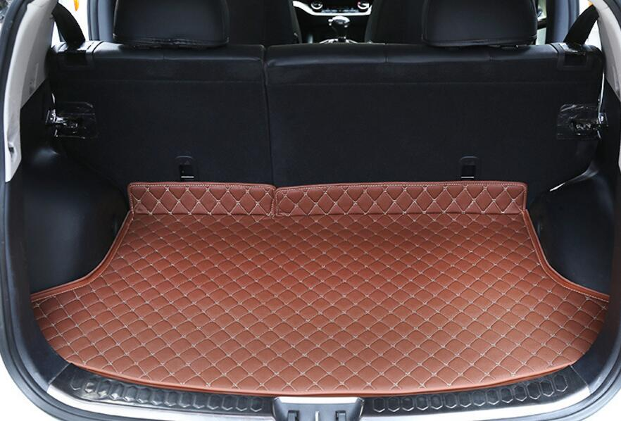 Luxury 1 Pcs 3 Colors Cargo Liner Car Trunk Mat For KIA Sportage R 2015 Carpet Interior Floor Mats Leather Pad Car-Styling