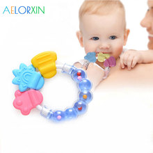 1Pcs Baby  Rattle Rings Silicone Teether Teething Chewable Newborn Nursing Mitten Beads Training Tooth