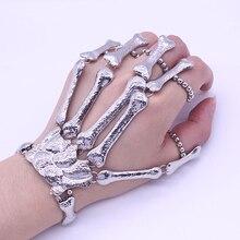 Nightclub Gothic Punk Skull Finger Bracelets for Women Skeleton Bone Hand Bracelets Bangles 2016 Christmas Halloween Gift недорого