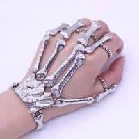 Nightclub Gothic Punk Skull Finger Bracelets for Women Skeleton Bone Hand Bracelets Bangles 2019 Christmas Halloween Gift