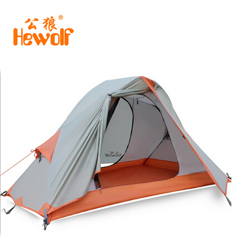 Chinese Hewolf tourist waterproof tents double layer for hunting camping equipment & outdoor 1 person tent tiendas de acampada waterproof tourist tents 2 person outdoor camping equipment double layer dome aluminum pole camping tent with snow skirt