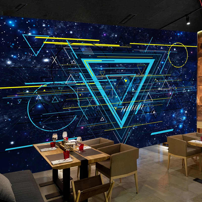 Custom Any Size Mural Wallpaper Modern Science Fiction Creative Stars Universe Line Wall Painting Bar KTV Backdrop Wall Stickers