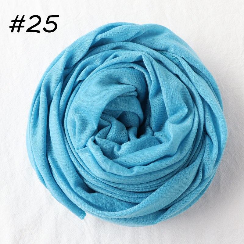 Один кусок хиджаб шарф Макси шали шарфы женские мусульманские хиджабы мусульманская леди палантин splid однотонное Джерси хиджаб 70x160 см - Цвет: 25 sky blue