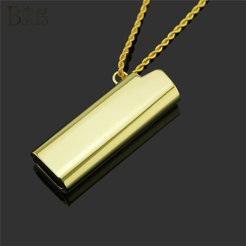 BOAKO Lighter Cover Men Necklaces & Pendants Gold Silver Color Hip Hop Chain Punk Rock Statement Jewelry Collares