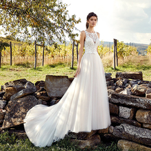 Liyuke Embroidery Pattern Lace A-Line Wedding Dress Sleeveless Gown With Puffy Tulle Skirt