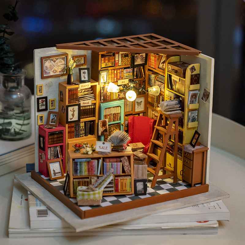 Rolife Home Decor Figurine DIY Sam Study Room Wood Miniature Model Kits Decoration Dollhouse Birthday Gift for Girl DG102