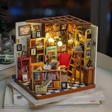 Robotime Diy Poppenhuis Sam Studeerkamer Hout Miniatuur Model Kits Decoratie Verjaardagscadeau Voor Meisjes