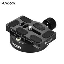 Andoer KZ 40 Aluminium Statief Hoofd Universele Bal Hoofd Disc Klem Adapter w/PU 70 Quick Release Plaat Compatibel voor Arca zwitserse