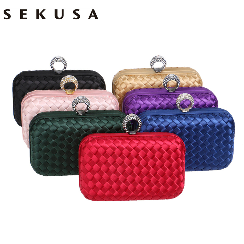 SEKUSA Finger Ring Diamonds Women Evening Bags Candy Small Day Clutches Handbags Knitted Material Fesyen Wedding Purse Bag