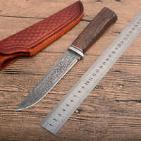 XL28 G10 + Damasco acciaio inox tondo manico in legno per esterni lama di caccia di alta durezza CNC lama dritta li regali coltelli all'ingrosso