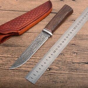 XL28 G10 + Дамасская сталь, круглая деревянная ручка, Открытый охотничий нож высокой твердости с ЧПУ прямой клинок li подарки ножи оптом