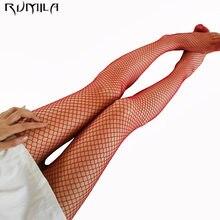 Vermelho médio grade sexy mulher cintura alta meia fishnet clube calças de malha malha malha de malha de malha de malha de meias de malha tt016