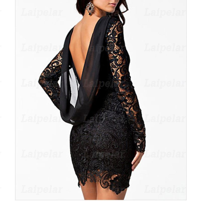 Laipelar Sexy Black Lace Party Dress Elegant 2018 Autumn Long Sleeve Backless Club Nightclub Chiffon Open Back Short Mini Dress