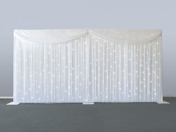 3*6 M LED starlit mariage toile de fond mariage rideau toile de fond mariage drapé avec lumière LED avec support de toile de fond en acier inoxydable