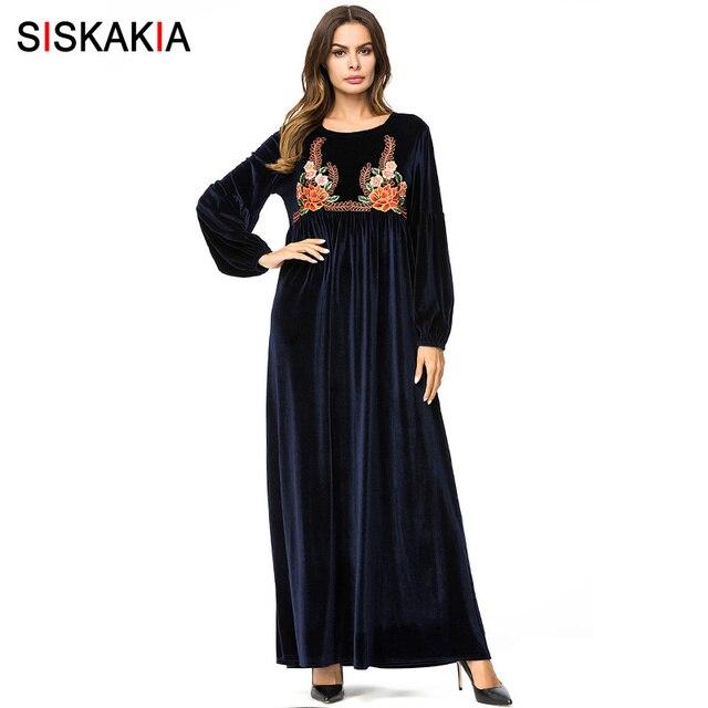 11031563bebea US $48.48 |Siskakia Elegant Velvet Embroidery Long Dress Winter 2018 Long  Sleeve Maxi Dresses High Waist Swing Women Dress Fall Navy Blue-in Dresses  ...