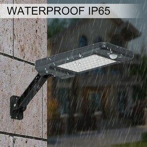 Image 5 - Luces solares de 900LM con Sensor de movimiento PIR, lámpara de pared de 60 LED con Control remoto, lámpara alimentada por energía Solar impermeable para patio de jardín exterior