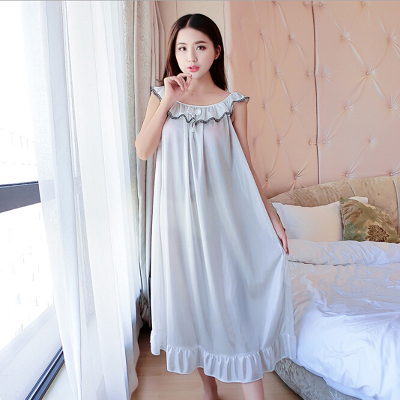 Lace Ice Silk Satin Night Dress Smooth Nightwear Sexy Women Sleepwear Summer Sleeveless Satin Nightgown Vestidos