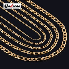 Width 3mm/4.5mm/6mm/7.5mm/9.5mm/11.5mm Gold Stainless Steel Necklace Waterproof  Men Figaro Chain Gift Jewelry Various Length