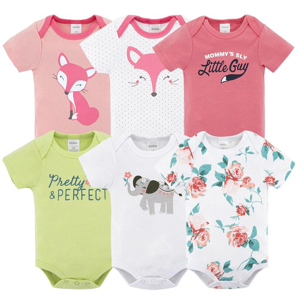 Kavkas 6pcs/lot Baby Rompers Unisex Jumpsuit Short Sleeve 100%Cotton O-Neck 0-12M Novel Newborn Baby Boy Girl Clothes Sets