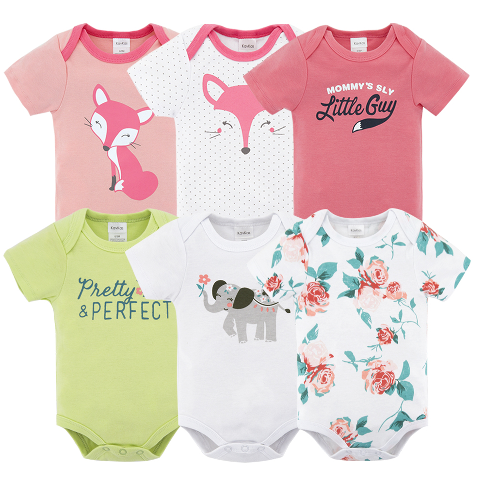 Kavkas 6pcs/lot Baby   Rompers   Unisex Jumpsuit Short Sleeve 100%Cotton O-Neck 0-12M Novel Newborn Baby Boy Girl Clothes Sets