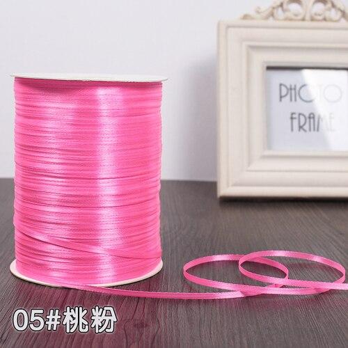 3 мм ширина бордовые атласные ленты 22 метра швейная ткань подарочная упаковка «сделай сам» ленты для свадебного украшения - Цвет: Bright Pink