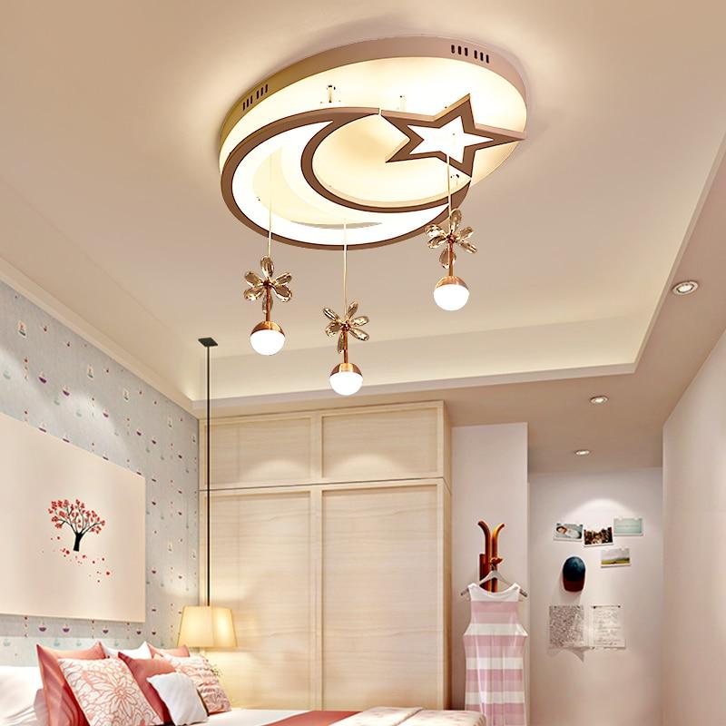 Children bedroom lamp LED ceiling lamp modern simple star moon lighting creative Princess room lamp girl lighting in Ceiling Lights from Lights Lighting