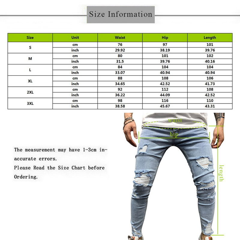 NEW Men Stretchy Ripped Skinny Biker Embroidery Print