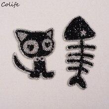 Komik Işlemeli Yama Rhinestones Kedi Ve Balık Kemik demir-on Çıkartmaları Çocuk Aplike Kot Kumaş Yamalar
