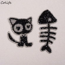 Funny Geborduurde Patch Steentjes Kat En Visgraten Iron-on Stickers Kinderen Applique Voor Jeans Doek Patches(China)