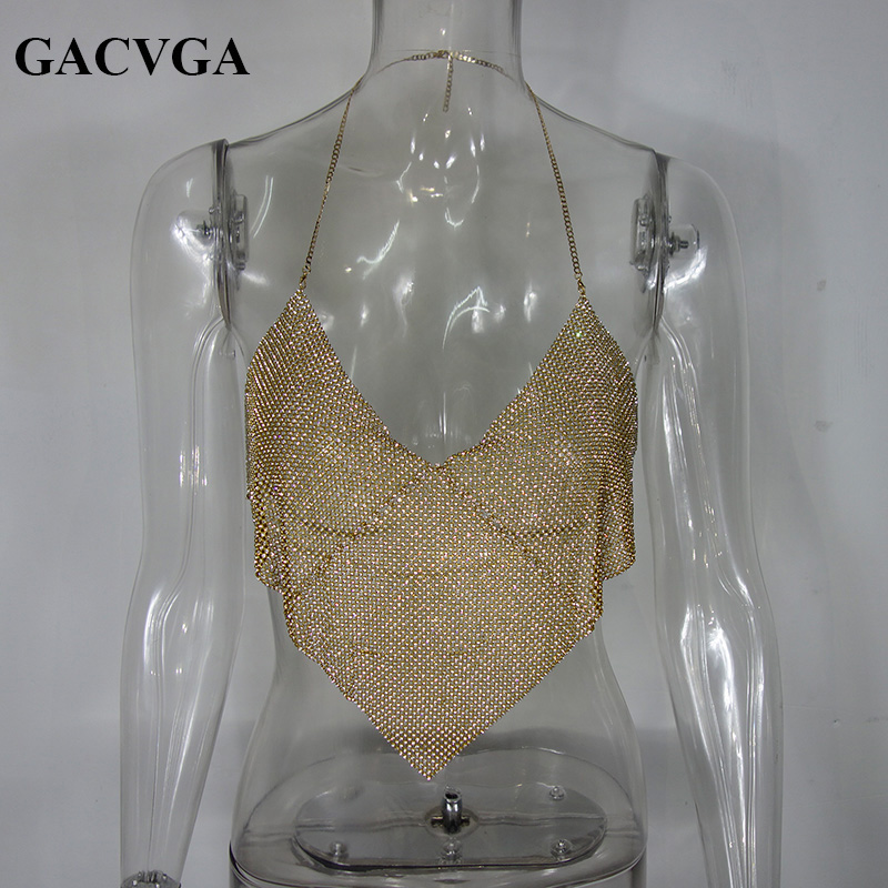 404cd5ee07f1a GACVGA 2019 Triangle Diamonds Crop Top Crystal Halter Summer Tops Glitter Women  Sexy Backless Nightclub Bralette Tank Top-in Camis from Women s Clothing on  ...
