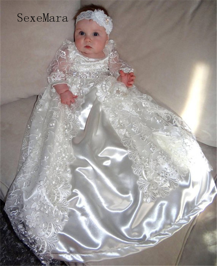 Heirloom baptism dress Baby Girls Royal christening gown Floor Length Baby Girls Christening Dress with Headpiece Stone Belt heirloom baptism dress baby girls royal christening gown floor length blush ivory lace baby girls birthday gown with headpiece