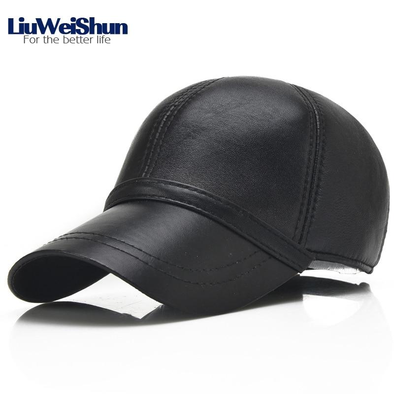 Фото LiuWeiShun 2018 Spring Sheep Skin Genuine Leather Baseball Cap For Men Quality Adjustable Black Hats Dad