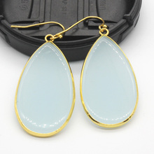 Kraft-beads Luxury Gold Color Light Blue Long Water Drop Earrings For Female Anniversary Gift Fashion Jewelry