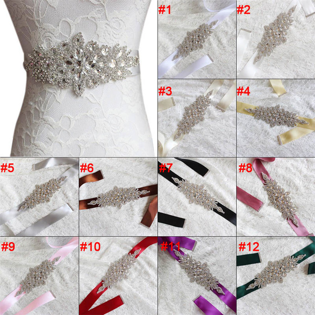Fashion Rhinestones Applique Ribbon Wedding Sash Evening Dress Belt Handmade with Length RIbbon JL 2