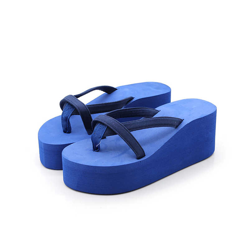 Oeak נשים חוף נשיים כפכפים קיץ סנדלי אופנה עקב טריז עם עבה תחתון קמצוץ EVA נעלי ורוד גודל 34-43