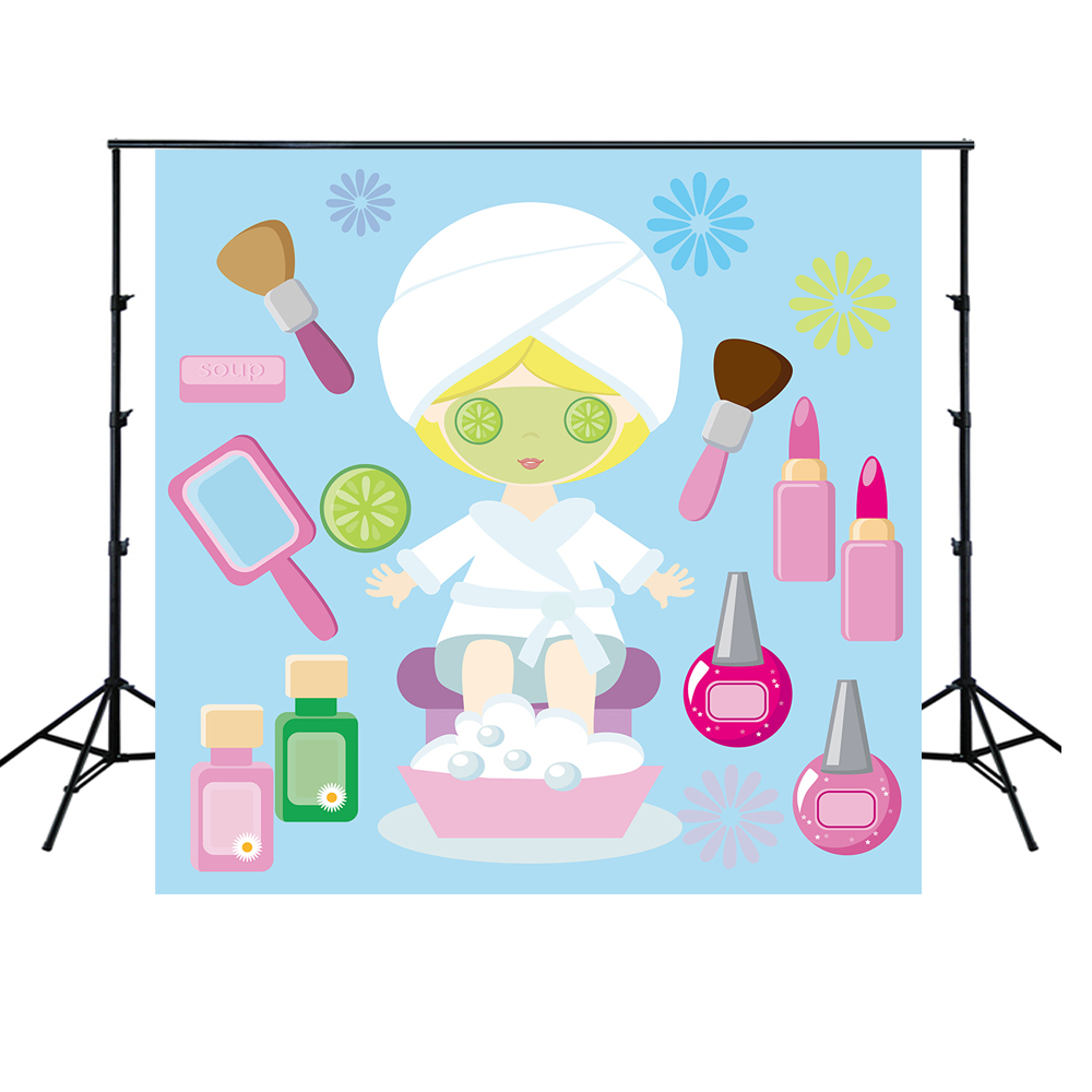 HUAYI kids sweet <font><b>16</b></font> birthday Spa Party decorations make up Backdrop for <font><b>teens</b></font> <font><b>Girls</b></font> Spa Day vinyl banner photo Background XT7710 image