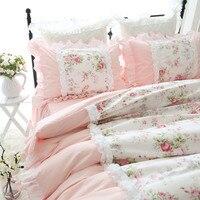 Sweet princess bed set Heavy wrinkle handmade ruffle lace duvet cover pastoral king size bedding set elegant bedding bed sheet