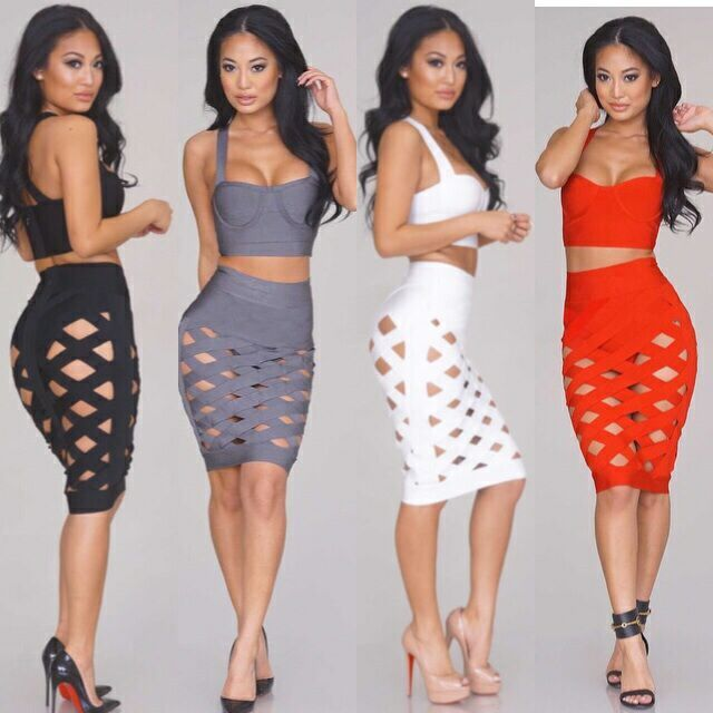 45139e15df1 IN STOCK!!!2016 Hot Selling New Women Grey Sexy Open Lattice Crossover Two  Piece Knee Length Bandage Dress