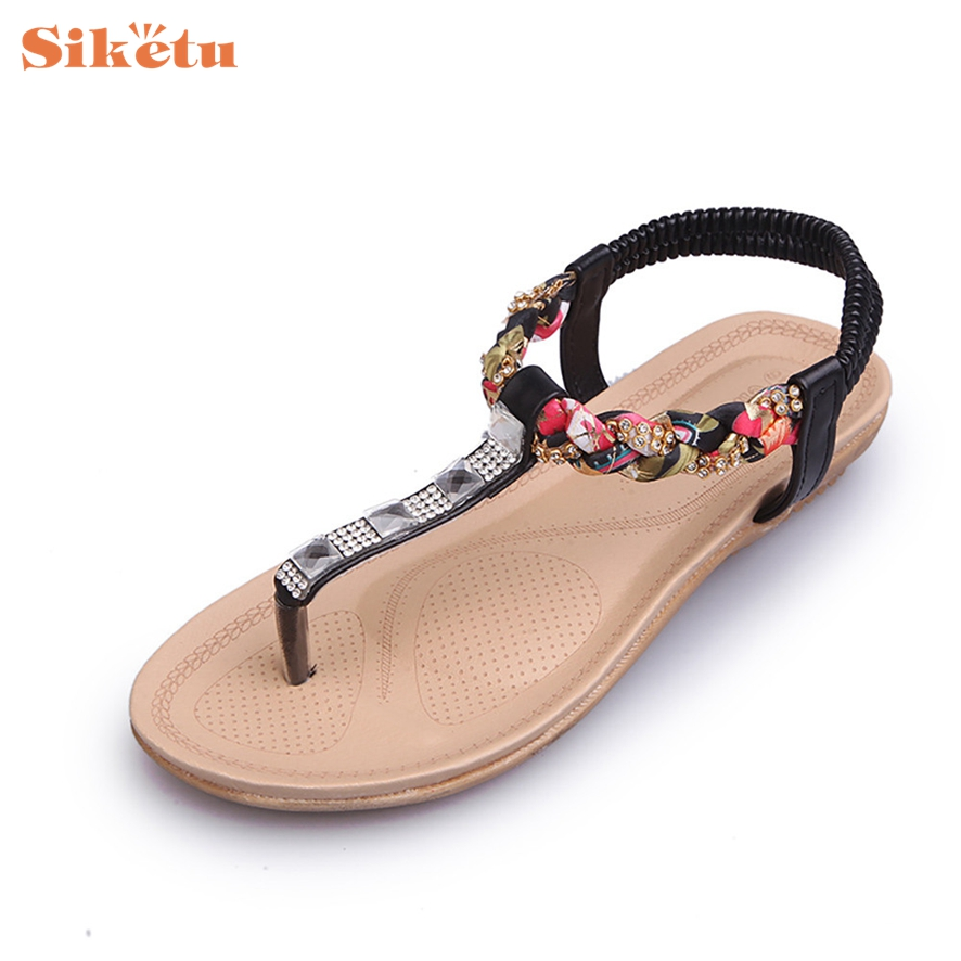 SIKETU New Fashion Women Sandals Summer Vintage Style Gladiator Platform Wedges Shoes Woman Beach Flip Flops Bohemia Sandal #1 2017 summer new wedges women s flip flops bling shoes woman high heeled sandals sequins antiskid platform women sandal black