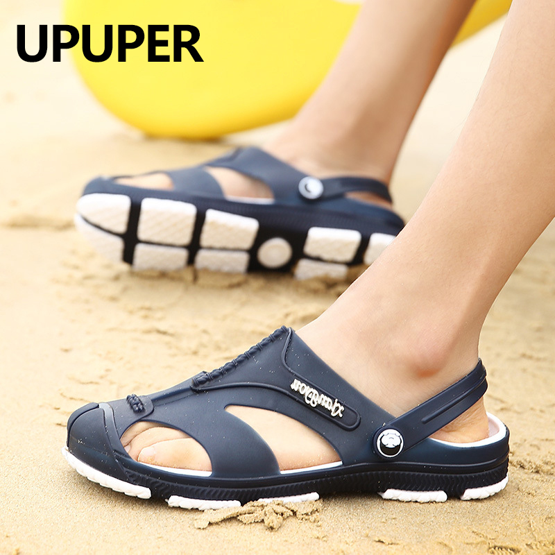 UPUPER Summer Hollow Sandals Men Soft Sole Outdoor Beach Sandals Slippers Slip-on Cheap Men Shoes Male Sandals Water Shoes