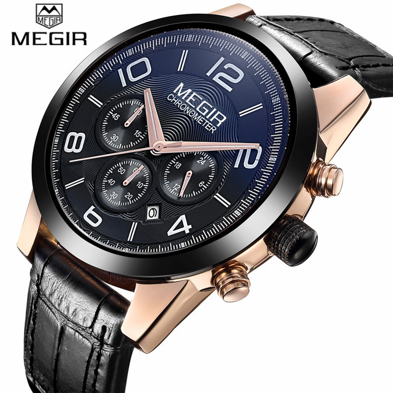 megir mens chronograph quartz watches luxury leather sport
