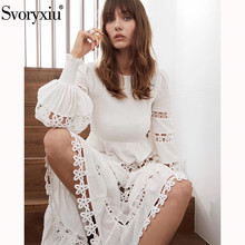 цена на Svoryxiu Designer Summer Lantern Sleeve White Long Dress Women  Elastic Waist Flower Embroidery Elegant Party Dresses Vestdios