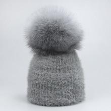 6d9b8b194f1 Casual Solid White Black Green Red Rabbit Fur Beanie Hat Female Real Fox  Fur Pom Pom