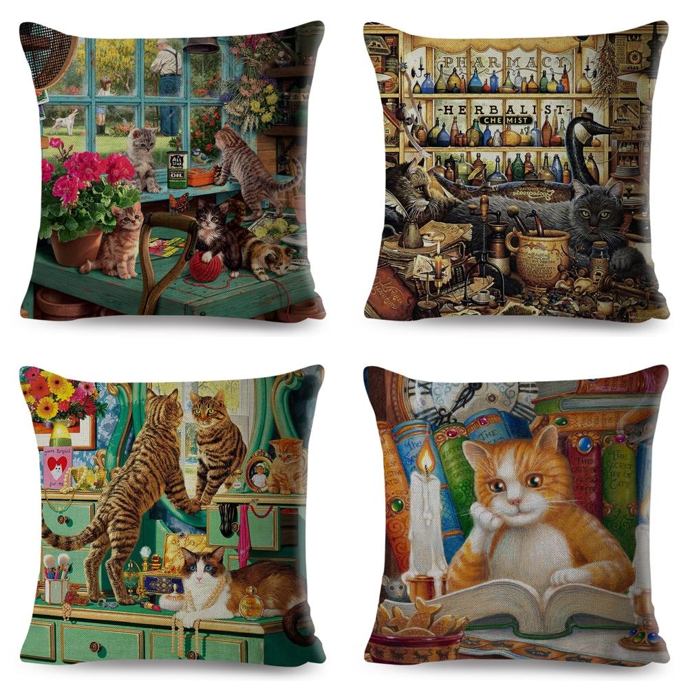 Cute Book Cat Party Cushion Cover Throw Pillowcase Home Decor Cartoon Animal for Sofa Linen Square