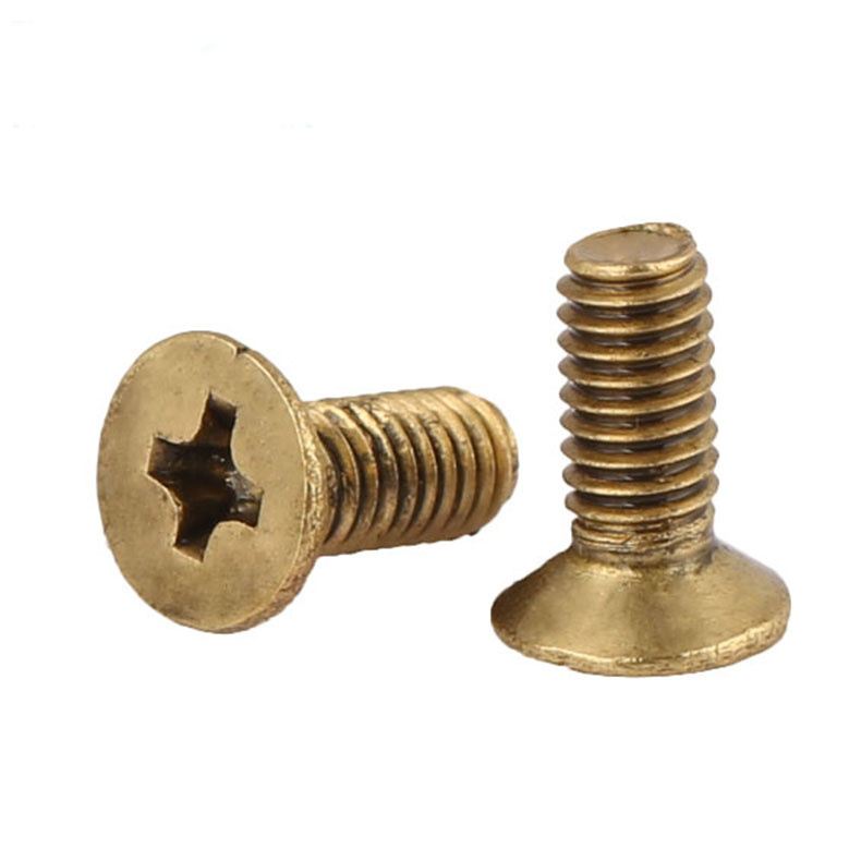 Phillips Brass Flat Head Machine Screw Metric Thread Copper Cross Recess Countersunk Metal Standard Bolt Hardware M2 M2.5 M3 M4Phillips Brass Flat Head Machine Screw Metric Thread Copper Cross Recess Countersunk Metal Standard Bolt Hardware M2 M2.5 M3 M4
