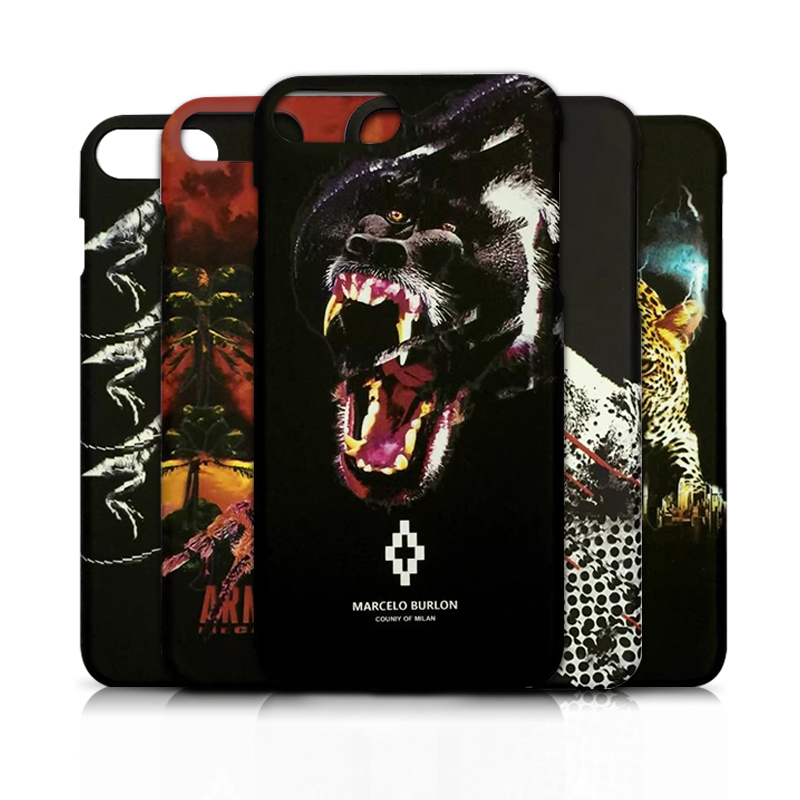 Retail Box Marcelo Burlon Case for iPhoneX 8Plus Hard PC Scrub Animal Cover Case for iPhone 6 6S 7 8 Plus 5 Marcelo Burlon Cover