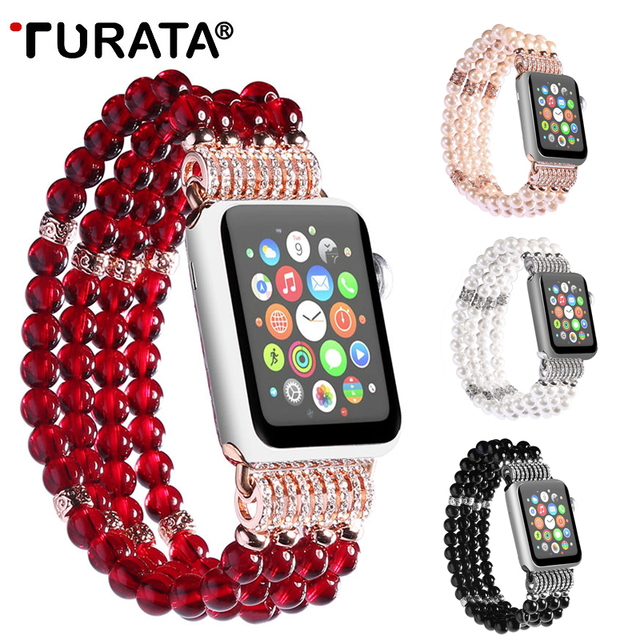uk availability c23b6 b7236 US $12.19 30% OFF|TURATA Handmade Elastic Faux Agate Beaded Watch Band Case  for iPhone Apple Watch Series 3 2 1 Bangle Bracelets Jewelry Bands-in ...